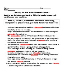 Nothing But The Truth Vocabulary Quiz Ch. 14-19