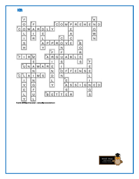Nothing But the Truth: Synonym/Antonym Vocabulary Crossword—Use w/Bookmarks +!