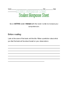 Nothing But the Truth pre-reading response sheet