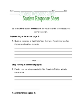 Nothing But the Truth response sheet for pages 1-9