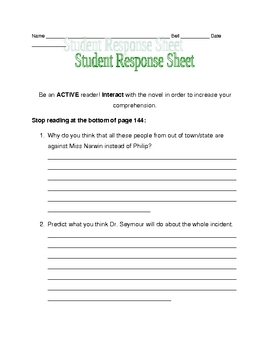 Nothing But the Truth response sheet pages 128-144