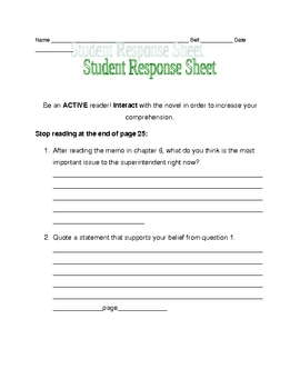 Nothing But the Truth response sheet pages 15-25