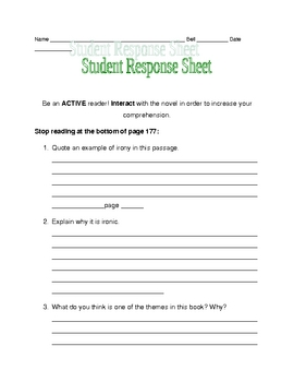 Nothing But the Truth response sheet pages 168-177