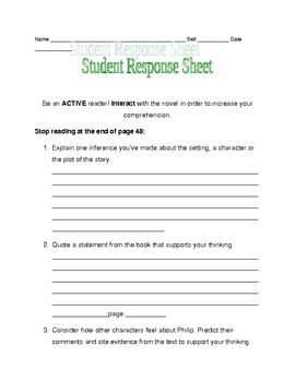 Nothing But the Truth response sheet pages 34-48