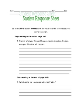Nothing But the Truth response sheet pages 99-105
