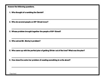 Nothing Ever Happens on 90th Street - Reading Comprehension Quiz and Worksheets