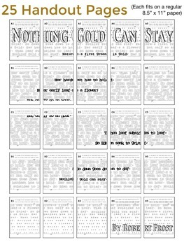 Robert Frost Nothing Gold Can Stay Poster - Great National Poetry Month Activity