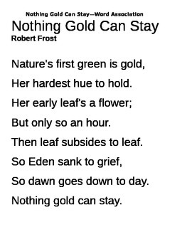 """Nothing Gold Can Stay"" poem analysis"