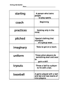 Nothing Like Baseball Vocabulary Cards