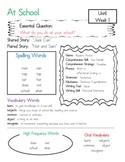 McGraw-Hill Wonders Unit 1 Week 1 Focus Wall / Parent Info Sheet