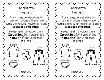 Notice - Accidents Happen - Change of Clothes