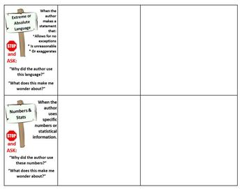 Notice & Note Graphic Organizer for Nonfiction Text (landscape)