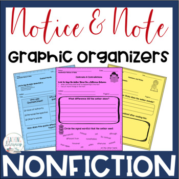 Notice & Note NONFICTION Signpost Graphic Organizers - Close Reading - No Prep!