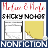 Notice & Note NONFICTION Signposts: POST IT NOTE TEMPLATE