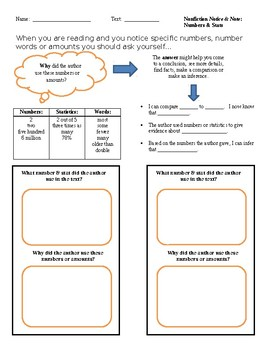 Notice & Note, Numbers and Stats Graphic Organizer
