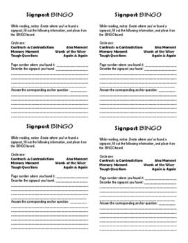 Notice & Note Signpost Bingo Markers