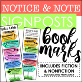 Notice & Note Signposts Bookmarks - Fiction and Nonfiction