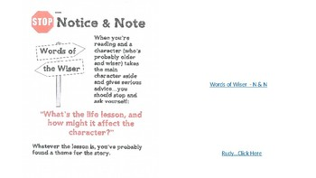 Notice & Note - Words of the Wiser Lesson