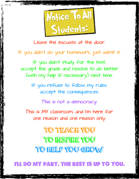 Notice To Students Classroom Poster