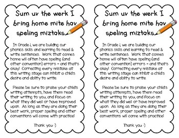 Notice - Writing Mistakes (Grade 1)