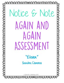 Notice and Note Again and Again Assessment NO PREP