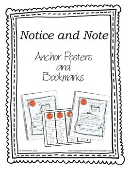 Notice and Note Anchor Charts and Bookmarks
