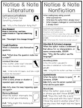 Notice and Note! Bookmark for Signposts for Literature & Informational Texts!