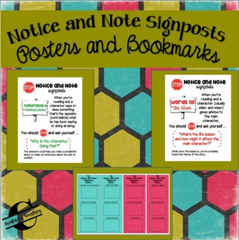 Notice and Note Classroom Posters and Sticky Note Bookmarks