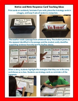 Notice and Note Classroom Signpost Response Cards