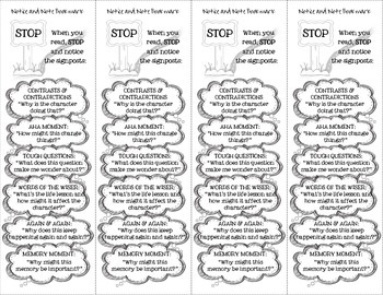 Notice and Note Close Reading Bookmark FULL SET