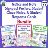 Notice and Note Classroom Posters, Student Signpost Close Notes & Response Cards