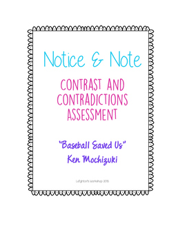 Notice and Note Contrast and Contradiction Assessment