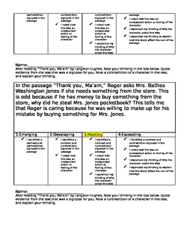 Notice and Note Contrast and Contradiction Assessment Rubric Thank you, Ma'am
