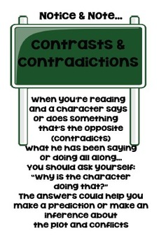 Notice and Note - Contrasts and Contradictions Anchor chart