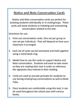 Notice and Note Conversation Cards