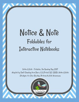 Notice and Note Foldables for Interactive Notebooks