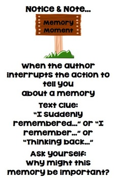 Notice and Note Memory Moment Anchor Chart