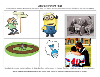 Notice and Note Nonfiction Signpost picture page TIERED