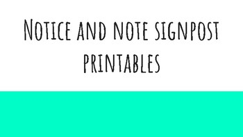 Notice and Note Printables
