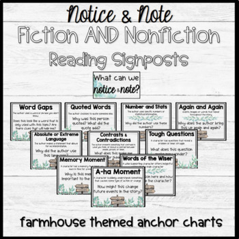 Notice and Note Reading Signposts Anchor Chart BUNDLE Fiction and Nonfiction