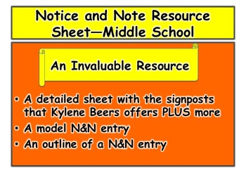 Notice and Note Resource Sheet—Middle School