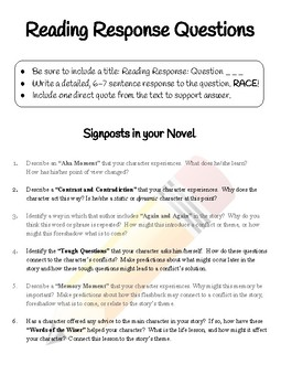 Notice and Note Signpost Reading Questions and Rubric