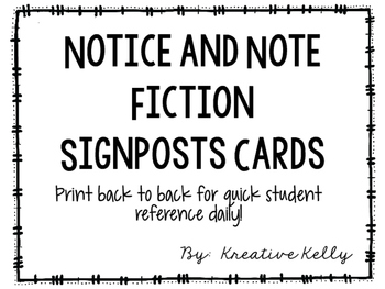 Notice and Note Signposts Cards (Fiction)