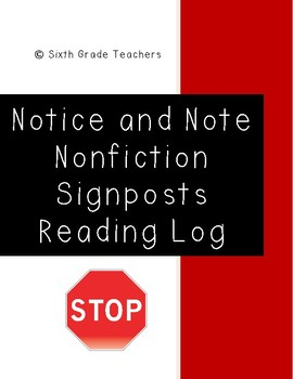 Notice and Note Signposts Nonfiction Reading Log