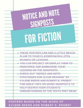 Notice and Note Signposts for Fiction - Letter Sized Posters