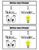 Notice and Wonder Interactive Notebook