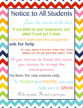 Notice to All Students Rainbow Chevron Poster