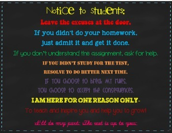 Notice to Students, Letter from Teacher Sign