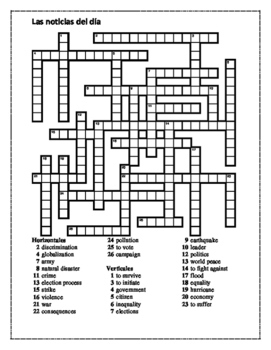 Noticias del día (News in Spanish) Crossword