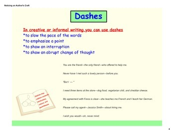 Noticing An Author's Craft: How & When to Use Dashes, Colons, and Ellipses (PDF)